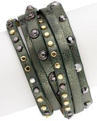 Saachi - Multicolor Studded Leather Wrap Bracelet - Lyst