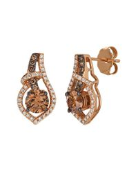 Le Vian Metallic ? Chocolatier? 14k Strawberry Gold? 1.16 Ct. Tw. Diamond Earrings