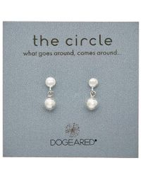 Dogeared - Metallic Circle Collection Silver Earrings - Lyst