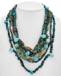 Devon Leigh - Multicolor 14k Filled Turquoise & Pearl Necklace - Lyst