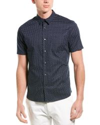 Vince Blue Classic Fit Micro Star Short Sleeve Sport Shirt for men