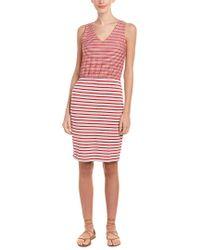 Three Dots Red Mixed-stripe Sleeveless Tank Dress