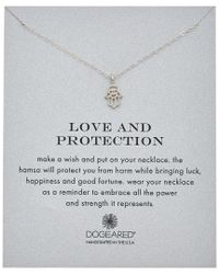 Dogeared - Metallic Reminder Collection Hamsa Silver Necklace - Lyst