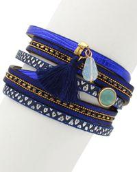 Sparkling Sage - Blue 14k Plated Resin Tassel Wrap Bracelet - Lyst