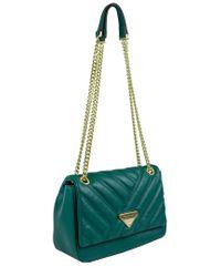Ellen Tracy Green Quilted Shoulder Bag