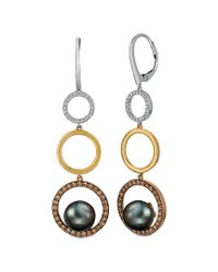 Le Vian Metallic Black Cultured Pearl (9mm) & Diamond (7/8 Ct. T.w.) Circle Drop Earrings In 14k Gold, White Gold & Rose Gold