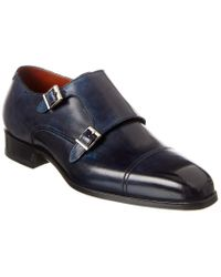 Magnanni Shoes Blue Wooster Leather Double Monk for men