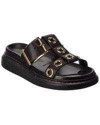 Alexander McQueen Black Hybrid Leather Sandal