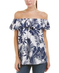 NYDJ - Blue Off-the-shoulder Tropical Print Top - Lyst