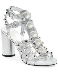 Balenciaga Giant Embellished Metallic Leather Sandal