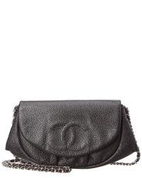 Chanel Black Caviar Leather Half Moon Wallet On Chain