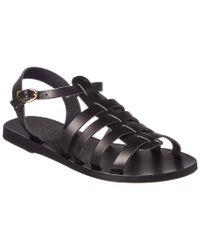 Ancient Greek Sandals Black Sandals Korinna Leather Sandal