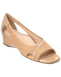 Taryn Rose - Natural Klouse Patent Demi-wedge Sandal - Lyst