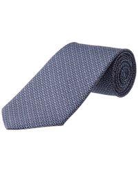 Ferragamo Blue Navy Interlocking Gancini Silk Tie for men