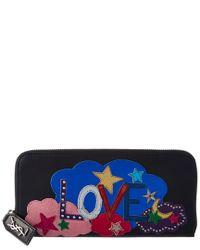 Saint Laurent Black Love Leather Zip Around Wallet