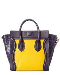 Céline Yellow Céline Nano Python Luggage Tote