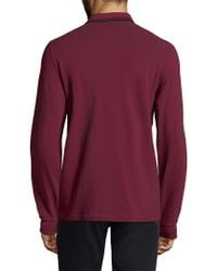 Fred Perry Red Long Sleeve Twin Tipped Polo for men