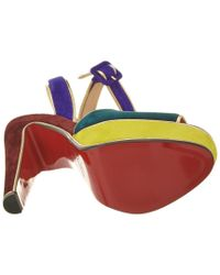 Christian Louboutin - Red Louloudance 140 Suede Ankle Strap Sandal - Lyst