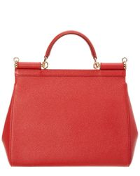 Dolce & Gabbana - Red Sicily Large Dauphine Leather Satchel - Lyst