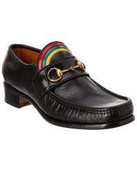 Gucci Black Vegas Rainbow Horsebit Leather Loafer for men