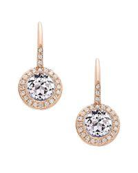Diana M - Metallic . Fine Jewelry 14k Rose Gold 1.49 Ct. Tw. Diamond & White Topaz Earrings - Lyst