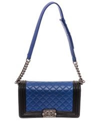Chanel Blue Quilted Leather Single Flap Medium Boy Bag