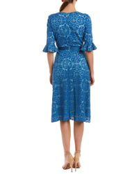 Kay Unger Blue Midi Dress