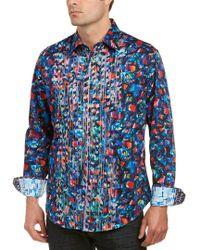 Robert Graham Blue Classic Fit Sibley Woven Shirt for men