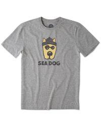 Life Is Good. Rocket Sea Dog Crusher Tee (heather Gray) T Shirt for men
