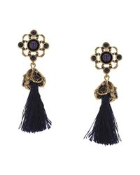 Sparkling Sage - Blue 14k Plated Resin Tassel Drop Earrings - Lyst