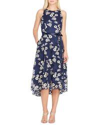 Tahari Blue Lace A-line Midi Dress