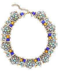 Sparkling Sage - Blue 14k Plated Crystal & Resin Statement Necklace - Lyst