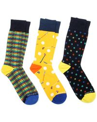 Unsimply Stitched Yellow Men's Pack Of 3 Socks for men