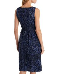 Karl Lagerfeld Blue Tiered Lace Dress
