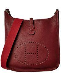 Hermès Red Burgundy Clemence Leather Evelyne I Pm