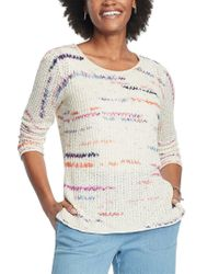 NIC+ZOE Brown Petite Sunset Stripe Linen-blend Sweater