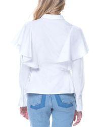 Endless Rose White Ruffled Poplin Shirt