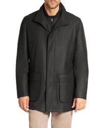 Saks Fifth Avenue Black Wool Overcoat for men