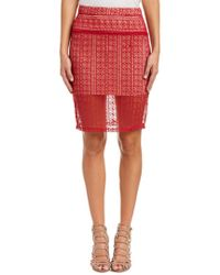 English Factory - Red Lace Pencil Skirt - Lyst