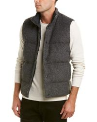 Vince - Gray Quilted Wool-blend Down Vest for Men - Lyst