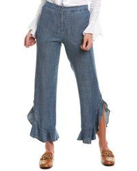 Trina Turk Blue Zacatecas Linen-blend Pant