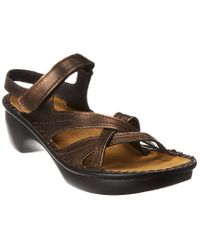Naot Brown Paris Wedge Leather Sandal
