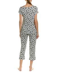 Catherine Malandrino Black Floral Cold Shoulder Tee & Pants Pajama 2-piece Set
