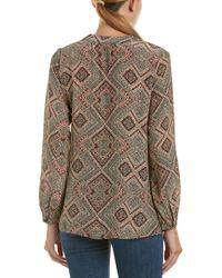 Tolani Natural Printed Silk Blouse