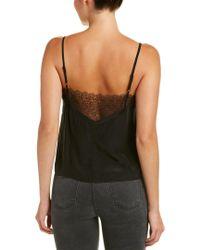 The Kooples Black Lace-trim Silk Cami