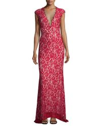 Aidan Mattox Red Lace Gown