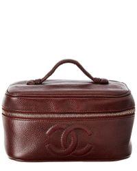 9b705188072bab Chanel Burgundy Caviar Leather Horizontal Cosmetic Case in Purple - Lyst