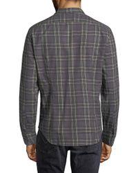 John Varvatos Gray . Plaid Shirt for men