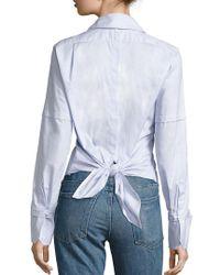 Helmut Lang Blue Poplin Tie-back Tuxedo Shirt