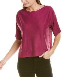 Eileen Fisher Pink Bateau Neck Linen-blend Top